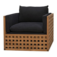 31-inch Set Of 2 Occasional Chair Solid Teak Wood Lattice Base Black Cotton Modern