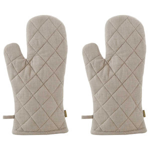Houndstooth Chambray Oven Gloves, Taupe, Set of 2