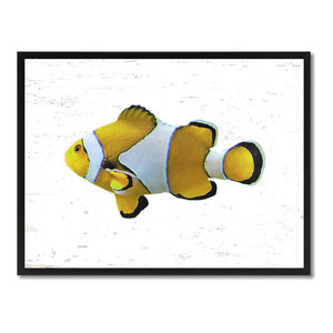 "Yellow Clown Tropical Fish Painting, 28""x37"""