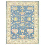 Esmaili Rugs - New Contemporary Colorful Blue Oushak Rug - 09'02 x 12'00 - 80599 New Contemporary Colorful Blue Oushak Rug with Modern Pastel Style 09'02 x 12'00. Blending elements from the modern world with pastel colors, this hand knotted wool contemporary Oushak style area rug will boost the coziness factor in nearly any space. The geometric print and pops of color woven into this transitional area rug work together creating a truly unique look. It features an all-over geometric botanical pattern composed of large blooming palmettes, stylized florals, leafy tendrils, amorphous organic shapes, and vinery beautifully contrasting on the abrashed azure backdrop. It is enclosed with a botanical palmette border flanked with double inner and outer angular guard bands. The Classic Oushak design combined with a mix of contemporary and expressive botanical design found in this Oushak rug prioritizes comfort without compromising on style. This contemporary area rug has been given a twist to effortlessly accompany today's modern interiors. Perfect for a living room, front room, dining room, wine cellar, conservatory, royal suite, executive suite, bedroom, private library, state room, great room, private Chambers, drawing room, billiards room, golf locker room, trophy room, game room, music room, masters retreat, formal vestibule, or hotel lobby. Well-suited for a variety of interior styles: Transitional, Contemporary, Modern, Parisian, English Country, French Provincial, Modernist, Traditional, Abstract, Art Moderne, Bohemian, Boho Chic, English, Chippendale, Georgian, Gustavian, Regence, International, Swedish Farmhouse, Flemish, Industrial, Eclectic, Colonial, Cottage, Craftsman, and Bungalow. With its blissful vibes and blue hues in harmony, this Oushak area rug would make a wonderful addition to seaside interiors such as: The Hamptons, Martha's Vineyard, Cape Cod cottage, Nantucket Beach, Beach House, Coastal Cottage, Seaside Sanctuary, or Lakefront Vacation Home. Render