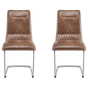 Brooklyn Antiqued Faux Leather Chairs, Warm Earth, Set of 2