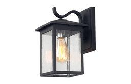 LNC 1-Light Exterior Wall Lanters Black Outdoor Wall sconces Seeded Glass
