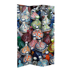 6' Tall Double Sided Ceramic Bazaar Canvas Room Divider