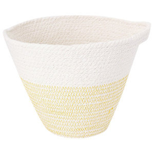 Hanging Mustard Yellow and White Cotton Rope Pot, Small