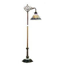 "60"" Tiffany Jeweled Peacock Bridge Arm Floor Lamp"