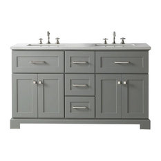 Sink Vanity With Quartz Top, Cool Gray, 60""