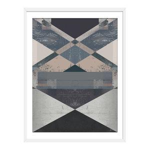"""""""Makawee"""" Abstract Art Print, White Framed, 40x50 cm"""