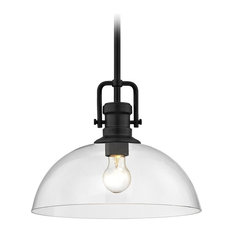 Industrial Black Pendant Light with Clear Glass 13-Inch Wide