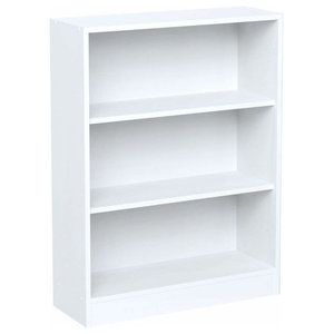 Modern Stylish Bookcase, Particle Board With 3 Open Compartments, White