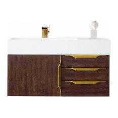 36 Inch Floating Bathroom Vanity Coffee Oak Glossy White Top Modern Outlets
