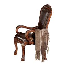 Wooden Arm Chair  Cherry Oak Brown Set Of 2