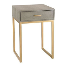 "Sterling Industries 24"" Shagreen Side Table, Grey/Gold Finish"