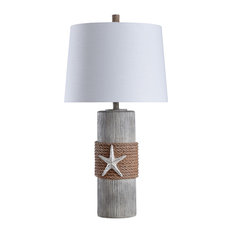 Seamount Table Lamp, Gray and Brown Body, White Shade