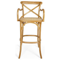 "Aldo 44"" Wooden Barstool With Wicker Seating, Walnut Finish, Natural"