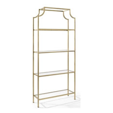 Crosley Aimee 4 Shelf Glass Etagere Bookcase in Antique Gold