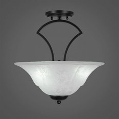 Zilo 3-Light Semi-Flush Mount Matte Black White Marble Glass