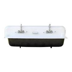 "Large 48"" Wall Mount Cast Iron Porcelain High Back Two Faucet Trough Sink, Black"
