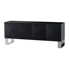 Kelly Hoppen Picasso Modern Classic Polished Black Maple Facetted Credenza