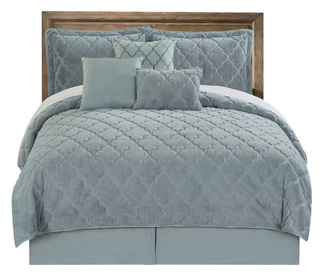 Ogee Faux Fur Embroidered 7 Piece Bed Spread Set
