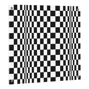 UV Squares Print on ESG Glass Kitchen Splashback, 60x50 cm