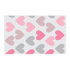 Hawkerpeddler   Gray And Pink Polka Dot Kids Rug, 8u0027x3.75u0027