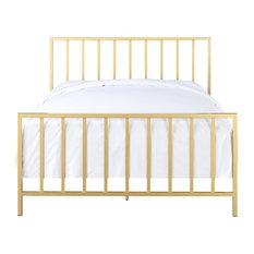 HomeFare - Pulaski Bed, Gold, Queen - Panel Beds
