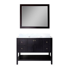 "Winterfell 48"" Single Bathroom Vanity,Espresso,Marble Top,Square Sink,Mirror"
