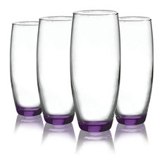 Beverage Stemless Flute Glasses with Beautiful Accent, 9 oz. Set of 4, Purple