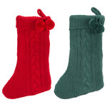 """Safavieh - Nutmeg Stockings, 2-Piece Set, Redgreen, 11""""x19"""" - Nothing announces the holiday season quite like stockings hung by the chimney with care, and with these Nutmeg Stockings (set of two), you'll be able to do just that! Nutmeg's soft cotton flaunts a classic knit pattern, making for iconic seasonal decor."""