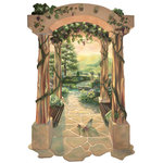 RTZ Company, Inc. - Arbor to the Vineyard - Step inside the fantasy. Stroll through the grapevine draped arbor, across the clear brook and into the sun drenched rolling hills of The Vineyard wall mural. The golden hues of this detailed painting will add warmth to your decor. Imaginative Murals are easy to adhere to the wall or this one would also look good mounted to mat board and framed. Let your imagination run amuck and have fun accessorizing this decorative focal point. ~ Trish