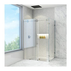 "36""x60"" Frameless 3/8"" Clear and Chrome Shower Enclosure, Clear/Stainless Steel"