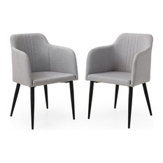 Modern Jason Living Room Accent And Dining  Arm Chair Set Of 2 Light Grey