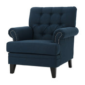 GDF Studio Arielle Plush Tufted Back Fabric Club Armchair, Navy Blue