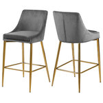 Meridian Furniture - Karina Velvet Stool, Set of 2, Gray, Gold Base - Yield to your contemporary side with this Karina Grey Velvet Stool. This modern stool is counter height, making it an ideal addition to a home bar or eat-in kitchen counter. The grey velvet upholstery brings a neutral element to your room, so it can easily meld with other furnishings. Plump seat and back cushions ensure that guests sit comfortably, whether they're enjoying a sudsy brew or a stack of pancakes. The polished gold metal frame is sturdy and stout, adding a durable slant to this lovely stool.