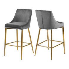 Karina Velvet Stool, Set of 2, Gray, Gold Base