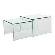 GDF Studio Angel 12Mm Tempered Glass Nesting Tables