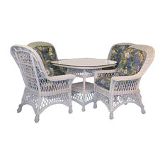 "Bar Harbor 5-Piece Dining Set With 42"" Glass in White, Botanical-Fern Fabric"