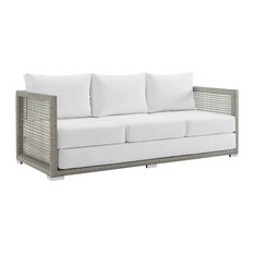Outdoor Wicker Sofa, Gray and White