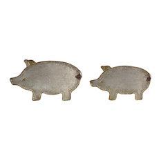 "Pig Platter 17""L, 20""L Metal, Set of 4"