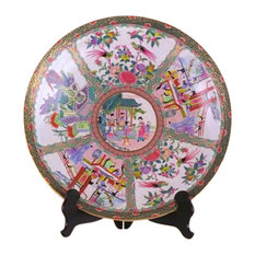 """Rose Canton Porcelain Chinese Plate 16"""""""