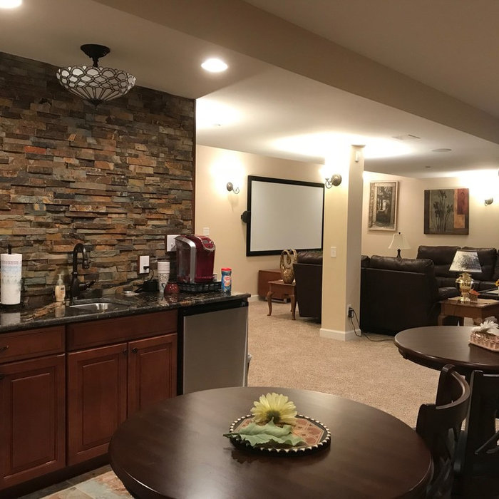 Finished Basement with Wet Bar & Home Theater