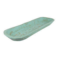 Painted Extra Long Rustic Wooden Dough Bowl, Mint, Long