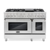 """Commercial Style 48"""" 5.8 cu. ft. Double Oven Dual Fuel Range, 6 Sealed Burners"""
