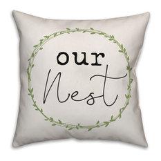 Our Nest Wreath 18x18 Throw Pillow