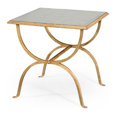 Eglomise and Gilded Iron Square Side Table