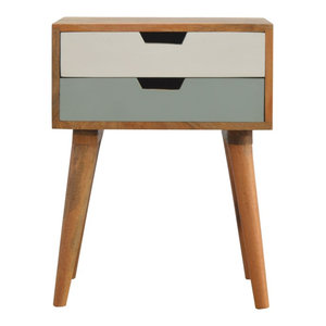 Solid Wood 2-Drawer Bedside Table, Grey