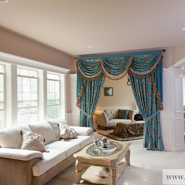 """""""Medici Sapphire"""" Elegant Curtains with Valances, Swags and Tails by celuce.com"""