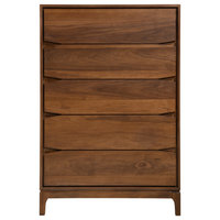 Chest 5-Drawer Solid Wood, Walnut