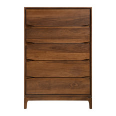 Chest 5-Drawer Solid Wood Walnut