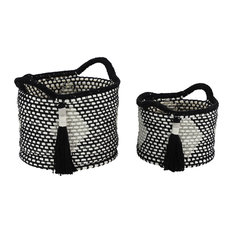 Round Black & White Cotton Rope Baskets with Diamond Design & Tassels, Set of 2